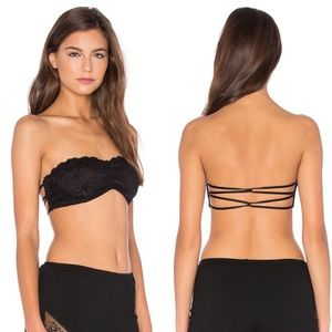 Free People Strappy Back Black Lace Bandeau Bra
